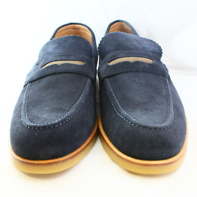 Mens H by Hudson Navy Blue Suede Slip On Casual Shoes Size  UK 10 *Ex Display