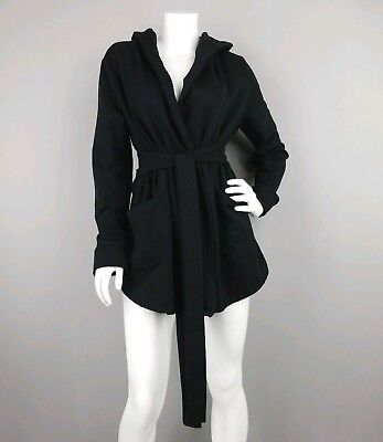 Old Navy Maternity Black Hooded Jacket With Attached Sash & Pockets Womens Large