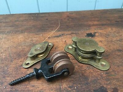 3x Various Vintage Pulleys Bracket Wall Ceiling Brass Iron
