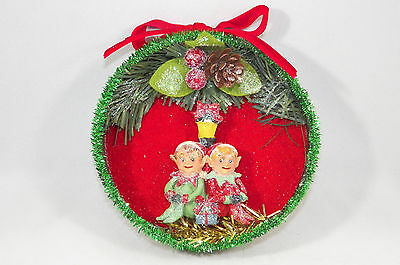 Shadow Box with Elf Christmas Scene Christmas Tree Ornament new holiday