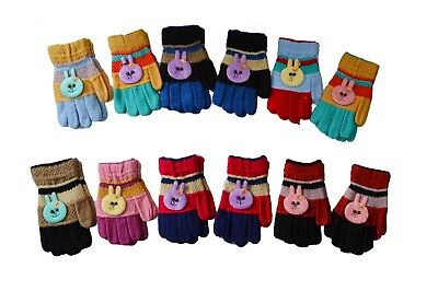 12 Pairs Girls Kids Magic Children Animal Knit Christmas Gloves Party Gift NY
