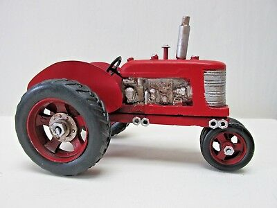 Metal Farm Tractor Red Vintage Style Farmhouse Country Decor NEW