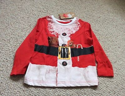 Baby Boys TU Father Christmas Long Sleeve T-Shirt 18-24 Months BNWT