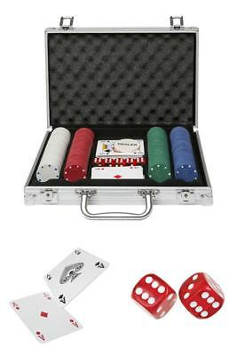 Global Gizmos Poker Set Chips Dice Cards in Aluminium Case (200 Pieces)