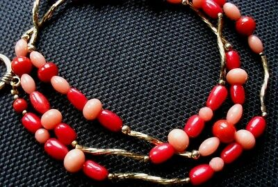 Beautiful vintage red and pink coral necklace gold-plated 17.4 grams