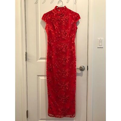 NEW Red Floral Lace Qipao Traditional Chinese Dress Tea Ceremony XS-S Wedding