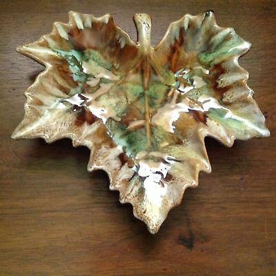 Antique Signed Anne Van Briggle MAPLE LEAF CANDY DISH Colorado Springs, Co. MINT