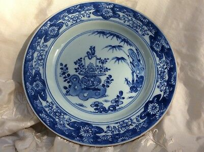 Chinese Antique 18th C Qianlong 9 in. Porcelain Blue White Plate Flower Basket