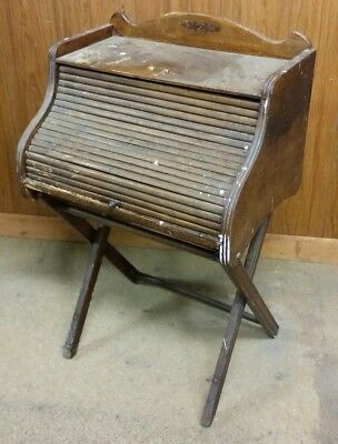 Nice Antique Folding Collapsible Childs Roll-Top Desk with Pull-Out Work Table