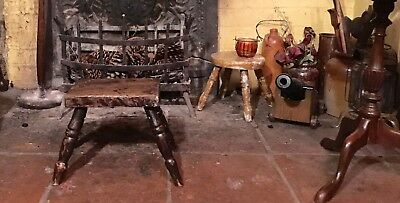 Antique treen elm fireside stool with attractive turned legs