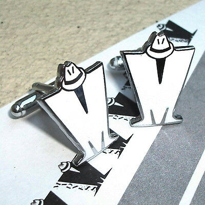 Madness - Pair Of White Enamel 'm' Logo Cufflinks - Suggs Ska Stiff Two 2 Tone