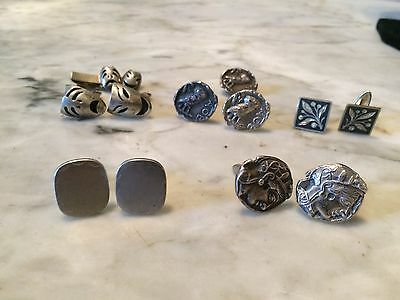 lot of 5 antique pairs of sterling silver athena theater mens cufflink 80 gr.