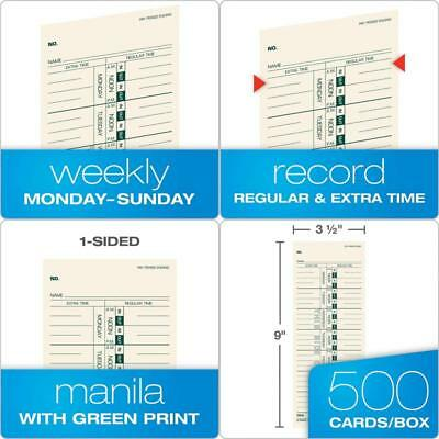 Time Cards Weekly Format Green Ink Front 3.5 x 9 Inches 500 Count, Manila. TOPS