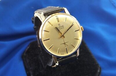 Allaine Vintage Swiss Mens Watch, Gold Plated 17 Jewels, Leather Strap, Gents