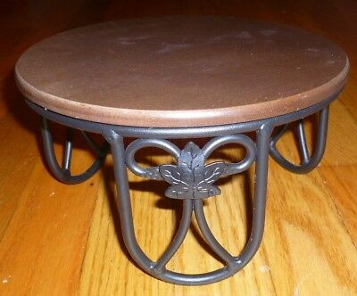 """Longaberger Woodcraft 4.5"""" Tall Wrought Iron Pedestal Plant Stand w/ 8"""" Wood Top"""