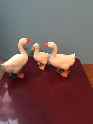 "SCHLEICH  1998 3 WHITE Geese # 2,3,4 Of This Collection2-2.5"" Tall"