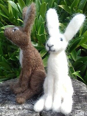 Gift Boxed Hare British Rare Breeds wool needle felt kit 4 hares white & brown