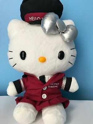 """Hello Kitty Empire State Building 10"""" Plush Doll 2014 Burgundy with Silver Bow"""