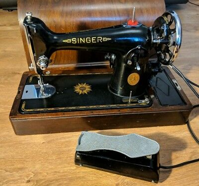 Vintage Ornate Singer Sewing Machine with Electric Motor, Pedal And Accessories