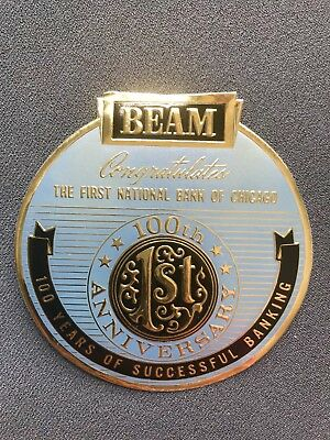 Jim Beam Label First National Bank of Chicago 100 years Anniversary UNUSED