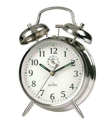 Acctim 12627 Saxon Double Bell Wind Up Alarm Clock In Chrome (OUR REF 4R)