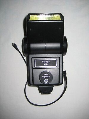 Vivitar 283 Shoe Mount Flash for SLR Camera with Case and Cable