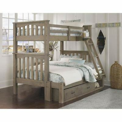 NE Kids Highlands Driftwood Harper Twin Over Full Bunk Bed with Storage