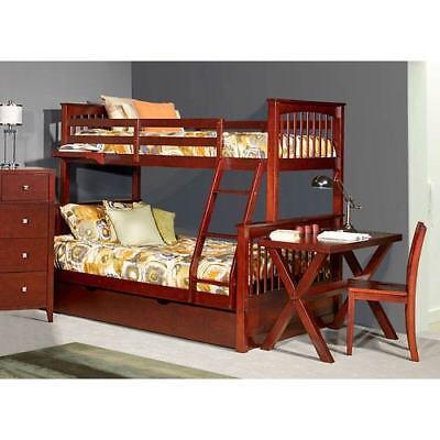 NE Kids Pulse Cherry Twin Over Full Bunk Bed with Trundle - 31050NT