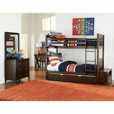 NE Kids Pulse Chocolate Twin Bunk Bed with Trundle - 32040NT