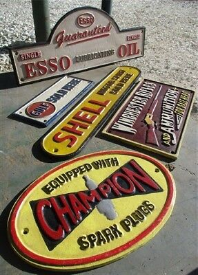 5 Cast Iron Signs Plaques Champion Esso Gulf Shell Winchester Mancave Garage