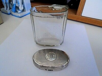 Antique Heavy Sterling Silver Top Bottle Ribbed Glass Design Perfect