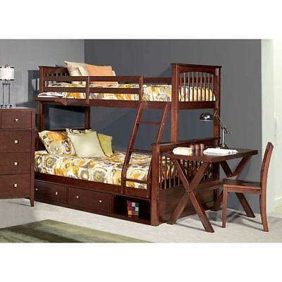 NE Kids Pulse Chocolate Twin Over Full Bunk Bed with Storage - 32050NS