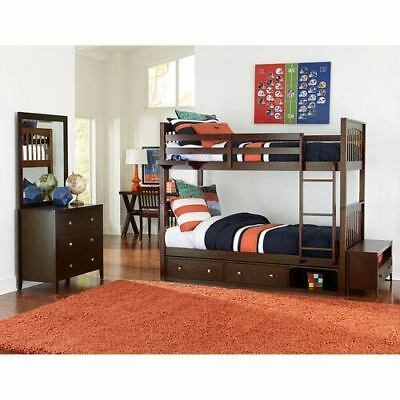 NE Kids Pulse Chocolate Twin Bunk Bed with Storage - 32040NS