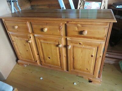 Solid Wood Rustic Dresser Base. Antique Pine Cupboard Sideboard Storage Unit.