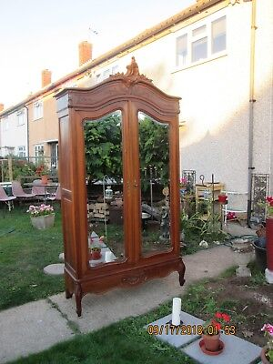 Antique Louis XV French 2 mirror doors armoire wardrobe, dismantles completely.
