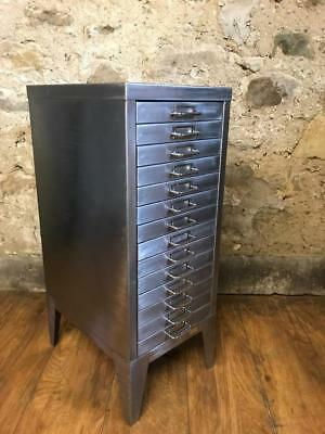 Vintage Industrial Stripped Metal 14 Drawer Filing Cabinet Storage