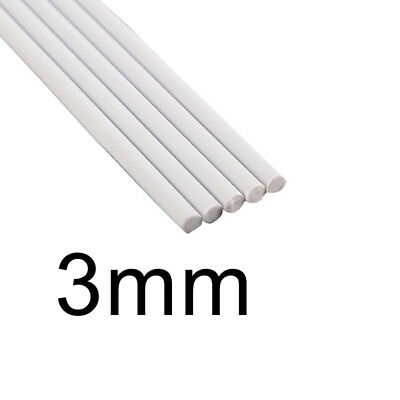 Solid ABS Rod 5pcs Plastic Assorted Cylinder Pole DIY Table Model Round White