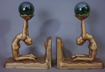 1920's Antique ART DECO NUDE LADY STATUE Old ART GLASS SPHERE Figural BOOKENDS