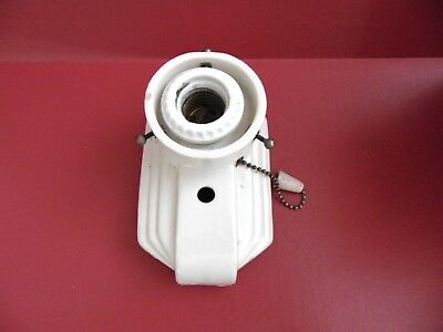 Vtg Art Deco White Porcelain Wall Sconce Light Fixture W Pull Chain