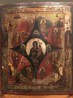 ESTATE SALE! Large 19th Century Russian Icon Our Lady of the Burning Bush