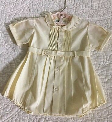 Vtg Feltman Bros Embroidered & Tucked Pale Yellow Belted Romper ~