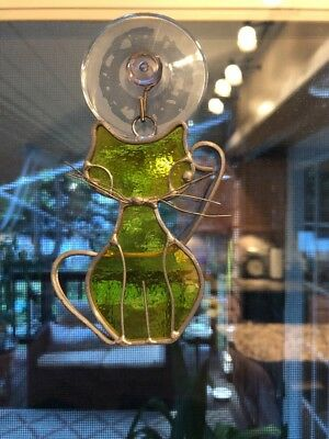 """Vintage Stained Glass 3.5"""" Adorable 'cat' Window Suncatcher Yellow Glass"""