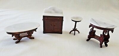 Dollhouse Miniature Furniture Matching Set Marble Coffee Table Vanity Desk Lot 4