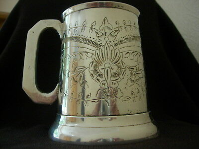 Superb Engraved Glass Bottomed Silver Plated /white Metal Tankard