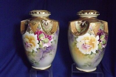 "Pair of Antique Hand Painted Nippon 9"" Hi Vases With Roses & Textured Gold Trim"