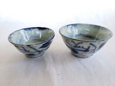 Very Old Chinese blue-and-white porcelain, two tea bowls