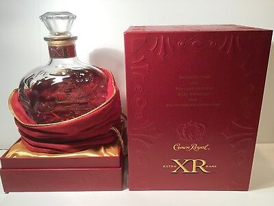 Crown Royal XR ( Red) Crystal Bottle, Bag, Box & Sleeve From Waterloo Distillery