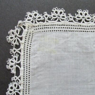 TRULY VINTAGE OFF WHITE HANDKERCHIEF/HANKIE WITH TATTED EDGE-wedding-unique
