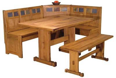 4 PC Kitchen Breakfast Nook Table Set Corner Dining Booth in Rustic Natural Wood