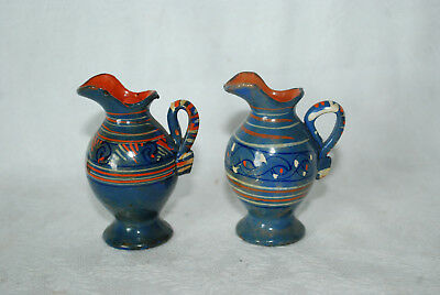 2 Vintage Hand Painted  Miniature Clay Pottery Pitchers Blue/striped  Rock City